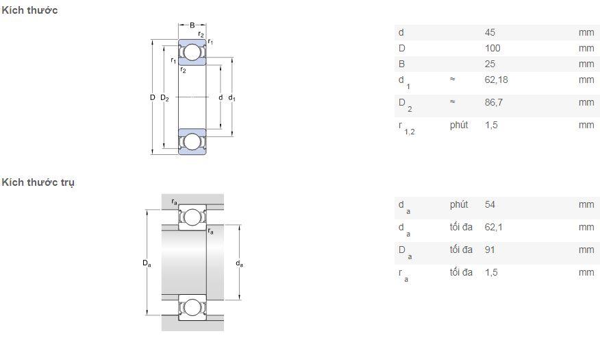 Bản vẽ kỹ thuật vòng bi SKF 6309-2Z