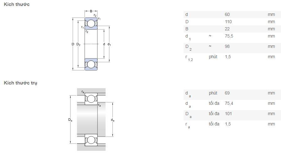 Bản vẽ kỹ thuật vòng bi SKF 6212-2Z
